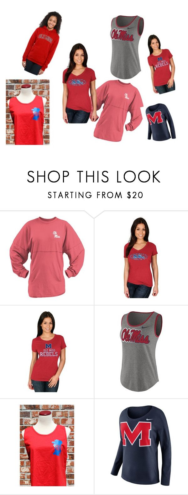 """ole miss apparel"" by marmarcheer ❤ liked on Polyvore featuring Majestic, NIKE and plus size clothing"