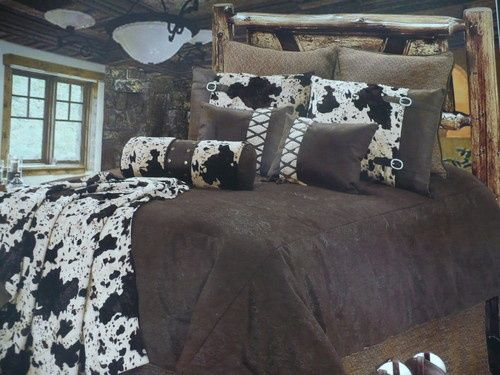 Western Rustic Lodge Bedroom Decor Brown Cowhide Fur Comforter Bedding Set 5 Pc | eBay. For my room.