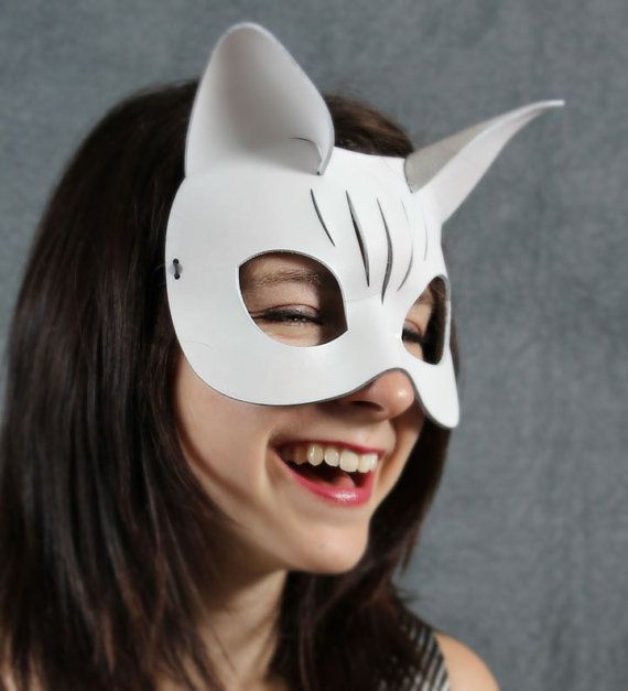 Kitty Leather Mask in White by TomBanwell on Etsy
