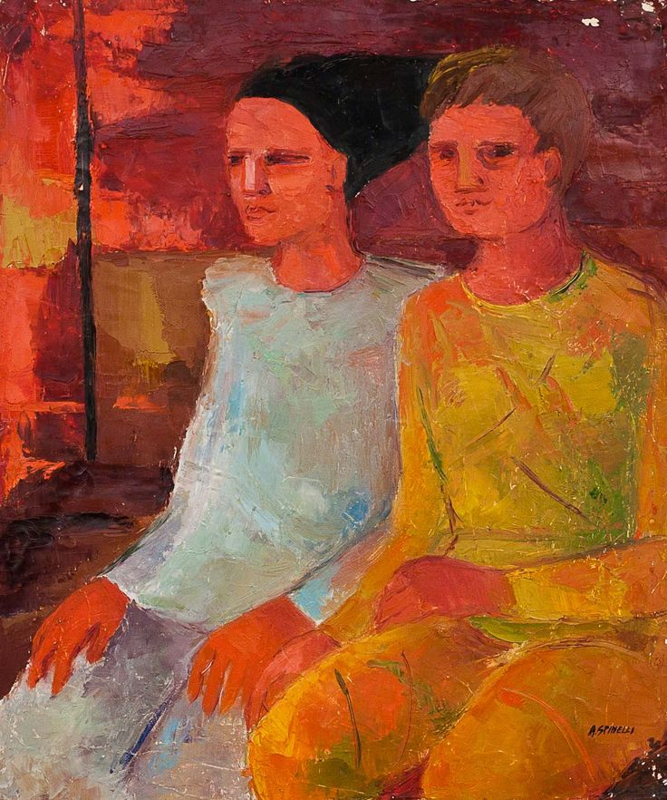 A couple by Alda Spinneli. Oil on canvas. 19.5 in x 23.5 in. 1963