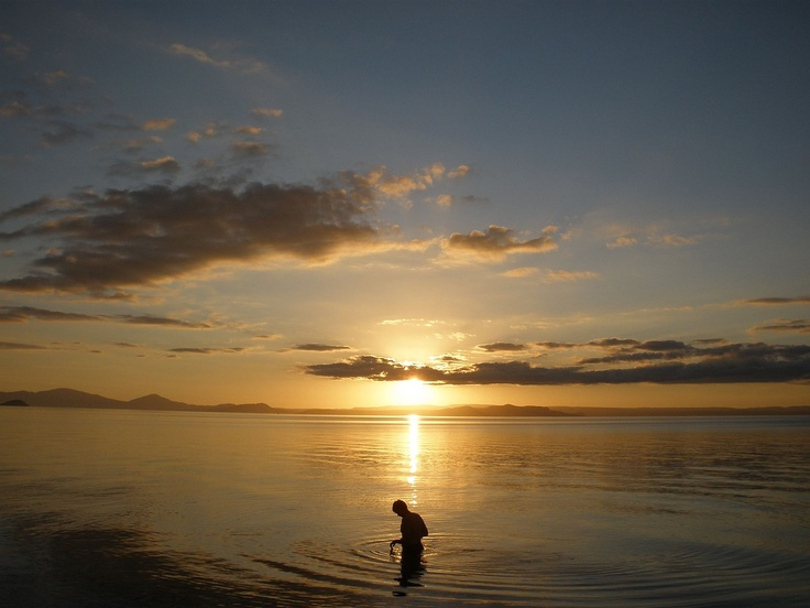 Sunset swim on our Great Lake can't wait yay! Summer.