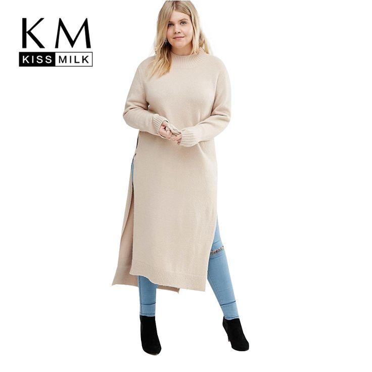 Kissmilk Plus Size Nowy Mody Kobiety Odzież Stałe Side Podział Dorywczo topy O-Neck Z Długim Rękawem Duży Rozmiar Długi Sweter 3XL 4XL 5XL