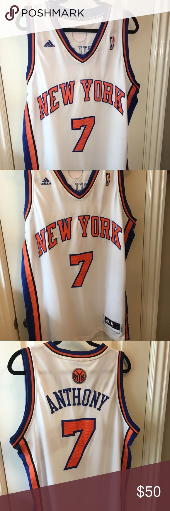 ADIDAS New York Knicks Carmelo Anthony Jersey L Authentic On Court Adidas New York Knicks Carmelo Anthony 7 Jersey Size Large! New Without Tags! Perfect throwback Jersey to when Melo played on the Knicks! adidas Shirts Tank Tops