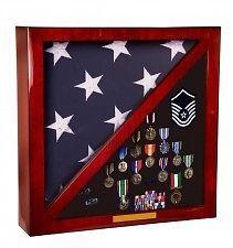 Square Military Flag Case Display Medals Memorbilia in Rosewood | eBay
