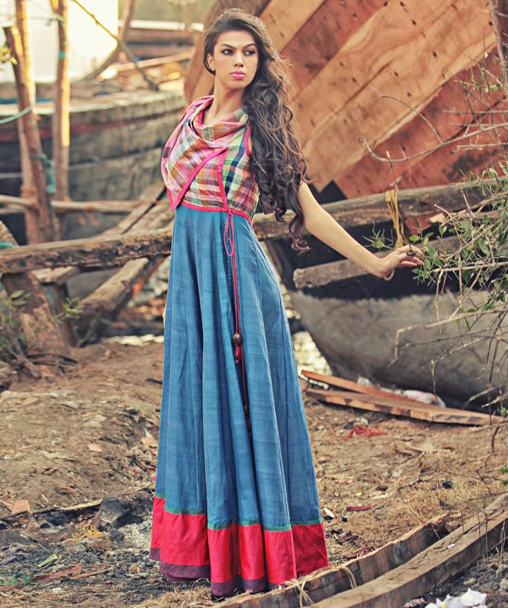 Blue Woven Cotton Overlapping Kalidar Maxi with Checks Cowl Bodice