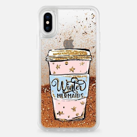 Casetify iPhone X Liquid Glitter Case - Winter Mermaids Pink Coffee Cup | Transparent Background Clear Case Fashion Illustration by Karamfila Siderova #wintermermaid #girlythings #casetify