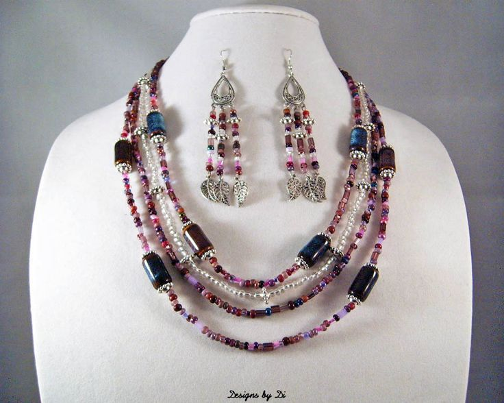 Purple, Brown & Silver Necklace Set