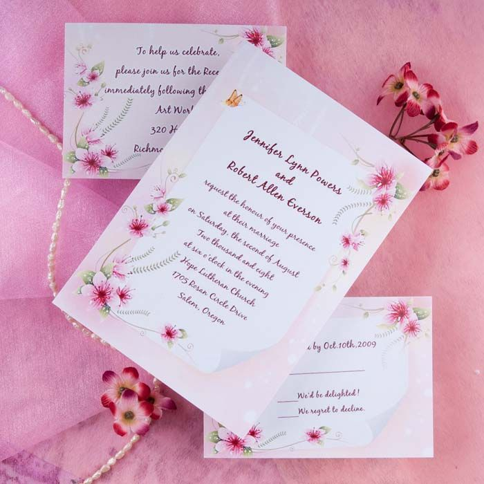 pink spring flowers and butterfly wedding invitations