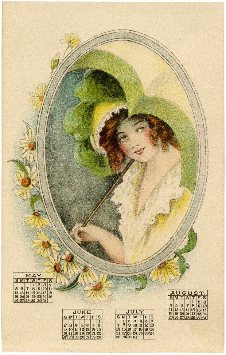 Vintage Calendar Lady Image - Parasol! - The Graphics Fairy