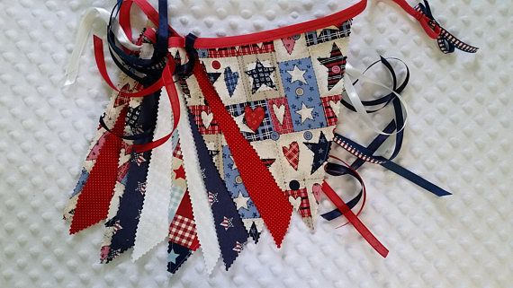 Handmade Country Fabric Flag Banner Bunting 4th of July Red