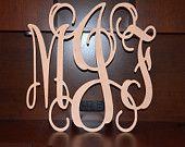 """24"""" Vine Script Three Letter Monogram- Wood Letter monogram-home decor- wedding decor. $30.00, via Etsy."""