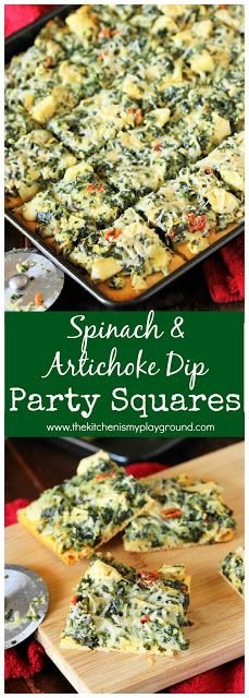 Spinach & Artichoke Dip Party Squares ~ Bake everyone's favorite spinach & artichoke dip on a crescent roll crust and turn it into delicious party squares!  Perfect for gobbling up during game day watching. #gameday #partyfood #spinachdip  #thekitchenismyplayground  www.thekitchenismyplayground.com