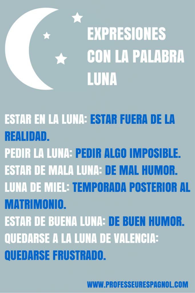 Expresiones en español con la palabra LUNA.
