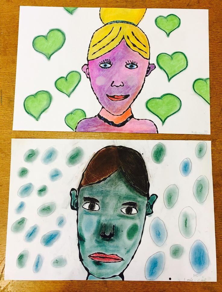 Portrait colle noire et pastel 5e année
