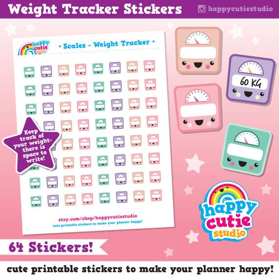 Scales, Weight Tracker, Printable Planner Stickers ...