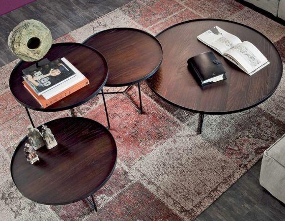 Design Couchtische Rund Metall Schwarz Holz Tischplatte Couchtisch