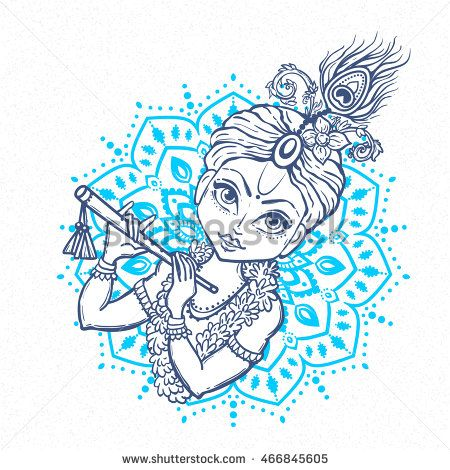 Ornament card with Lord Shri Krishna birthday. Illustration in vector art. Happy Janmashtami Day Hindu. Vedic Feast India. Use for banners, card, wallpaper, print. Cartoon image