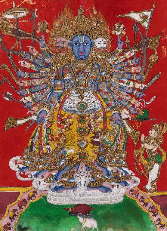 Tanjore, Late 19th century Cosmic Krishna-Vishnu.