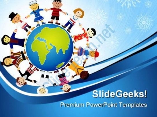 Children Of The World Globe PowerPoint Templates And PowerPoint Backgrounds 0311  Presentation Themes and Graphics Slide01