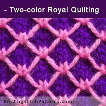 Two-color Royal Quilting. Free Knitting Pattern includes written instructions and video tutorial.