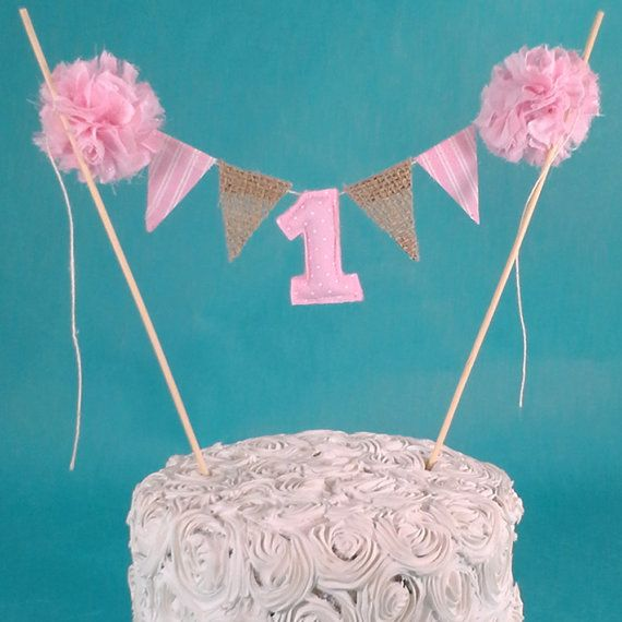 Pink Smash Cake burlap banner First birthday by Hartranftdesign