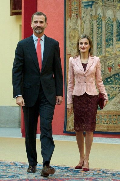 King Felipe VI of Spain and Queen Letizia of Spain attend the Cervantes Institute Annual Meeting at tthe El Pardo Palace in Madrid, Spain. 09 October 2014