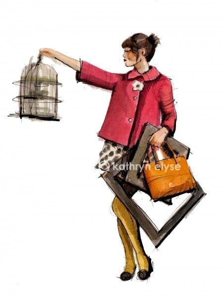 Kate Spade's illustrations are feminine,classic, and fun. I like that she adds props to her illustrations to give her models more life.
