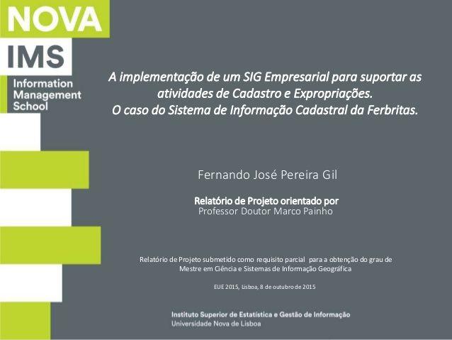 Instituto Superior de Estatística e Gestão de Informação Universidade Nova de Lisboa A implementação de um SIG Empresarial...
