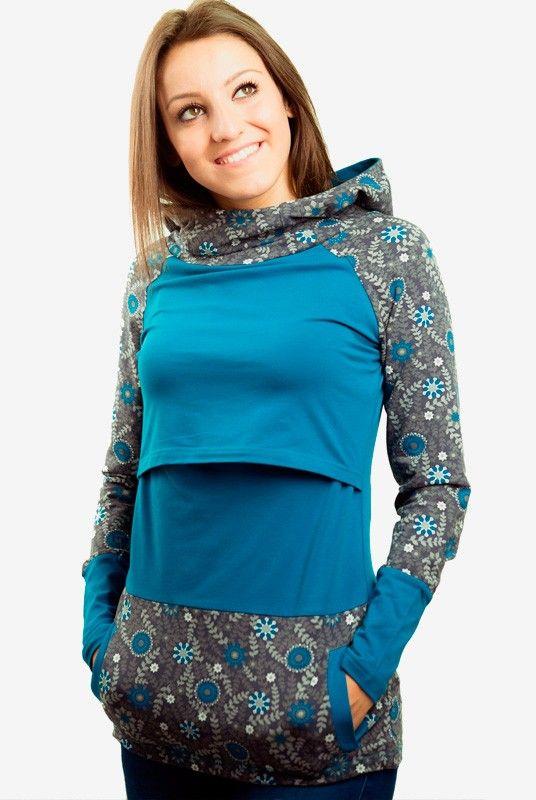 Sudadera embarazo y lactancia estampada Yaiza - Tetatet - Camisetas de Lactancia y Vestidos de Lactancia