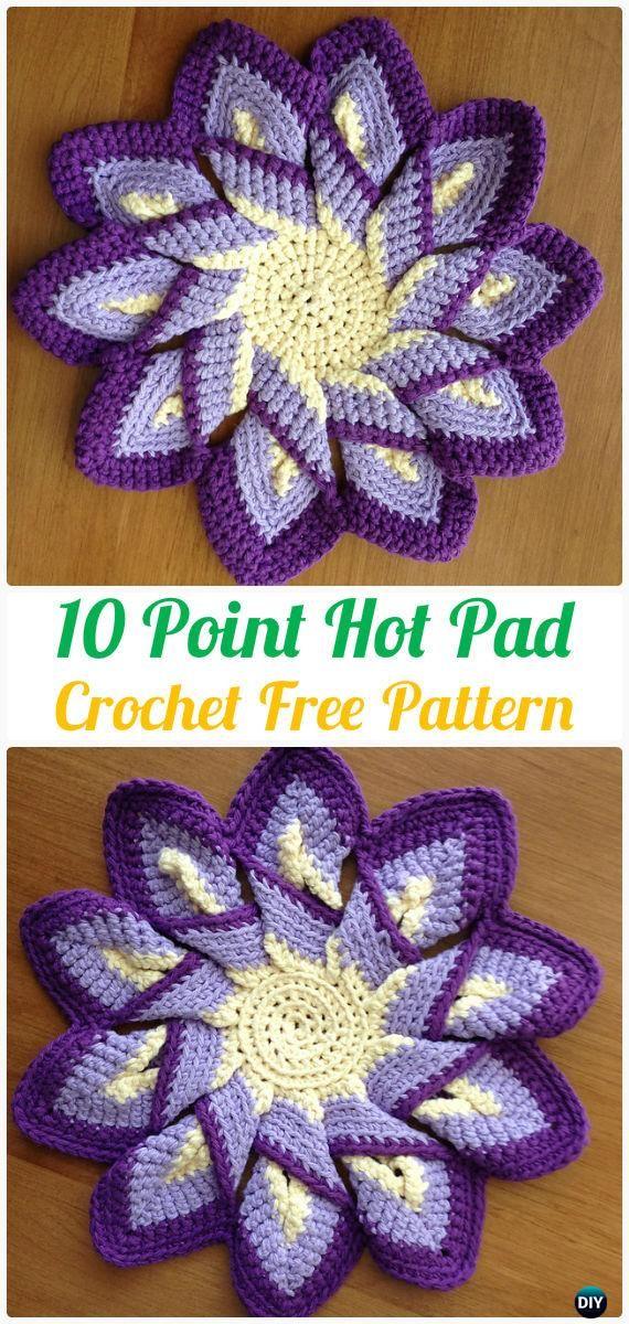 Crochet 10 Point Hot Pad Free Patterns - #Crochet Pot Holder #Hotpad Free Patterns