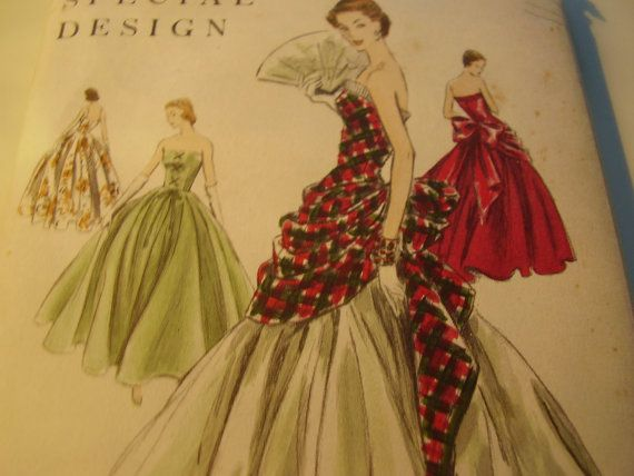 Vintage 1950's Vogue 4657 Special Design Evening Dress Sewing Pattern, Size 12, Bust 30.  Someone PLEASE buy this for me.  Holy crap.