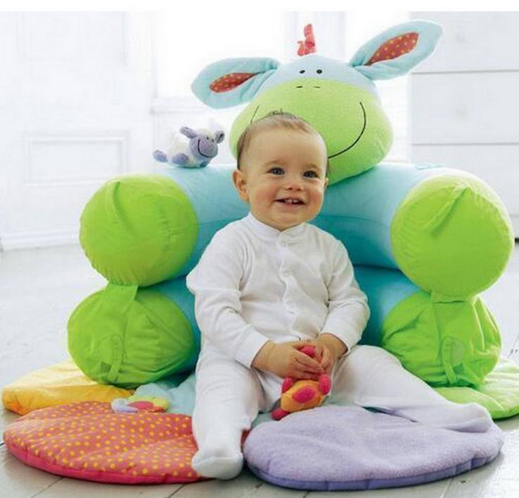 Educational Infantil Plush Toy Inflatable Baby Sofa Seat Kids Newborn Baby Sit Me Up Cosy Infant Toddler Play Mat Green Donkey