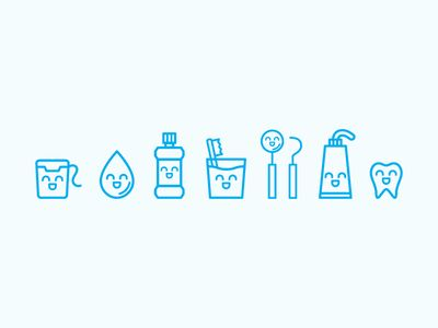 Very Cute dental icons for Contra Costa Dentistry - by Sabrina Ham