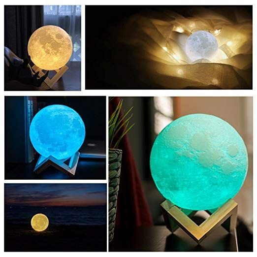 Aed Moon Lamp With Stand Slap Touch Remote Control 16 Rgb Colors Dimmable Usb Recharge 3d Pr Baby Night Light Moon Light Lamp Christmas Gifts For Kids