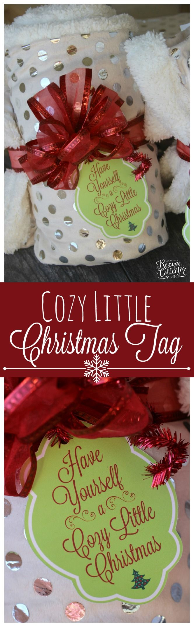 Cozy Little Christmas Tag and Blanket or Scarf Gift Idea - Perfect gift idea for teachers, friends, and family. Two Christmas tag options FREE to print.