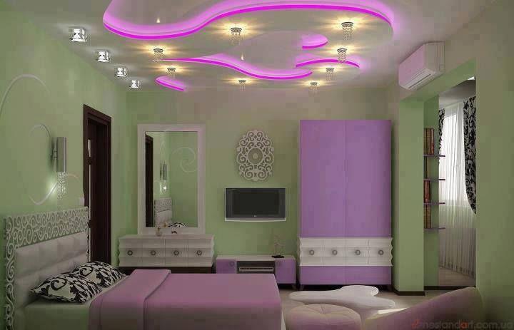 slaapkamer in paars tint