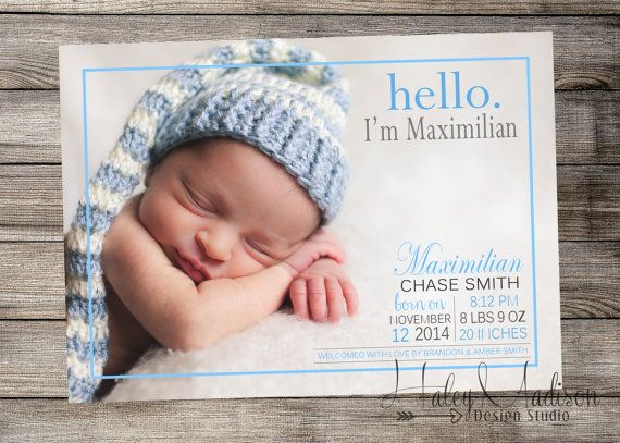 45 best Cards Birth Announcements images – Birth Announcement Pinterest
