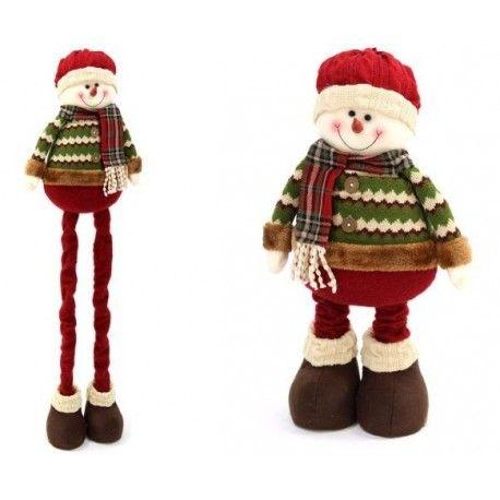 Decoración de Navidad. Muñeco de nieve para decorar en Navidad, en tejido extensible de 95 cm.