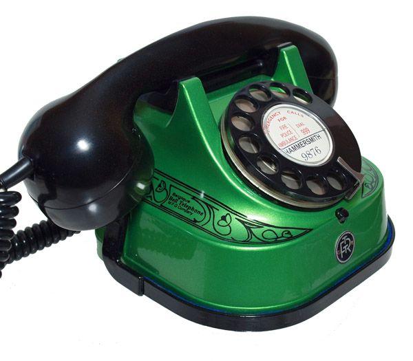 green vintage phone