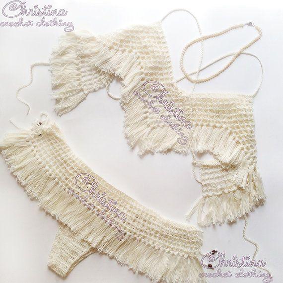 Crochet bikini set Cream Crochet swimsuit by ChristinaCrochettt