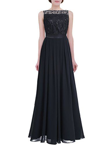 iiniim Womens Lace Crochet Chiffon Party Prom Gowns Bridesmaid Long Evening Dress
