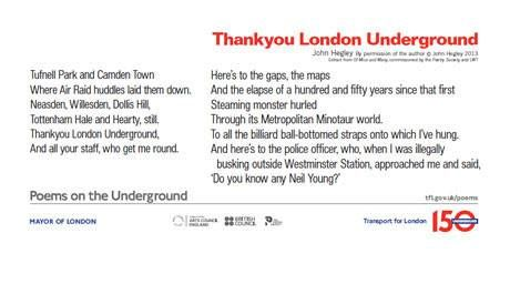 Poems On The Underground Celebrate The 150 Anniversary Of The Tube Internet Site, 150 Anniversaries, Literature News, Fine Johnhegley,  Website, Interesting Outdoor, Underground Celebrities, Standardnew Include, 150Th Anniversaries