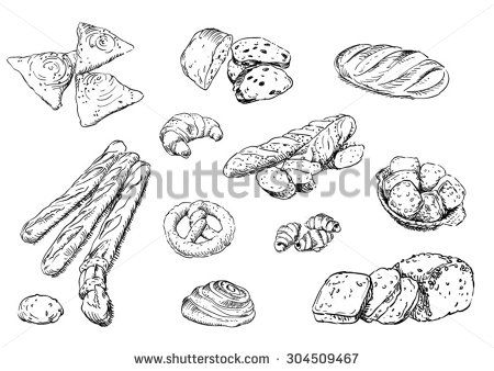 Sketches of food: bread - stock vector
