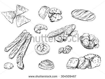 Sketches of food: bread - stock vector