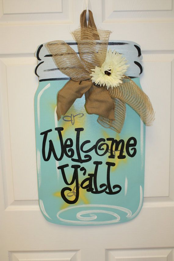 """Not really a wreath, but I must make this before my """"sweet Texas friend"""" comes to visit!  Mason Jar Door Hanger  @Amber Stone"""
