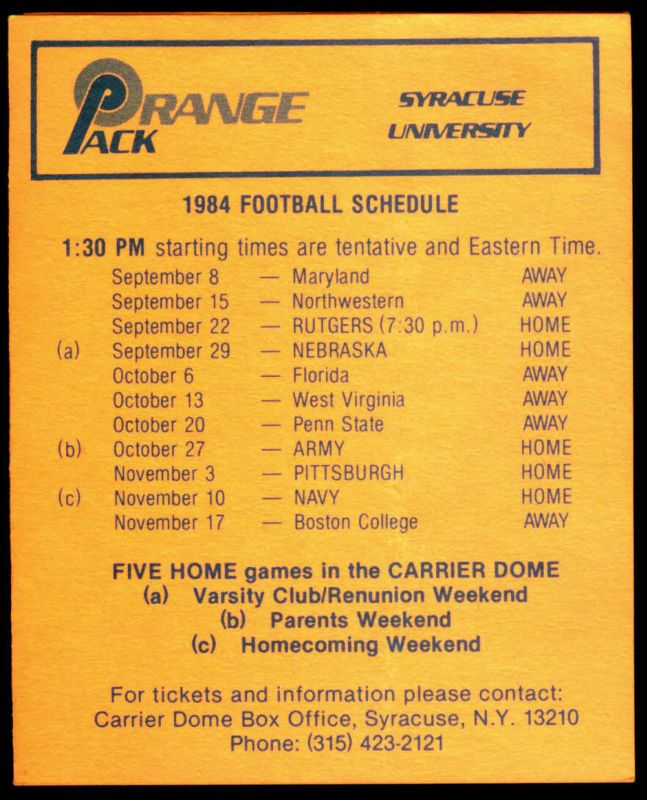 1984 SYRACUSE ORANGE CARRIER CORPORATION FOOTBALL POCKET SCHEDULE FREE SHIPPING #PocketSchedules
