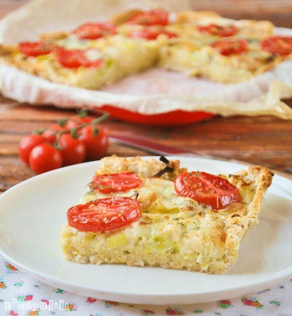 Tarta de puerros y tomates (con base de pan de molde)