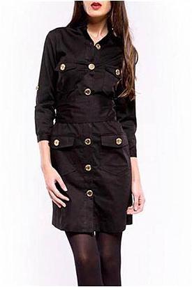 Almatrichi Flap Pocket Detail Solid Color Dress - Enviius