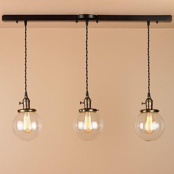 3 Light Chandelier - Linear Pendant Lights - Lighting w/ Clear Glass Globes - Oil Rubbed Bronze Finish - Edison Light Bulbs