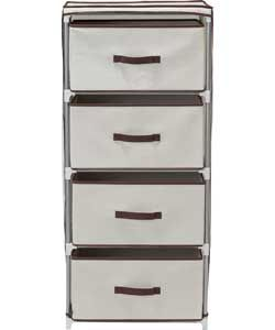 Metal and Polycotton 4 Drawer Storage Unit - Cream.